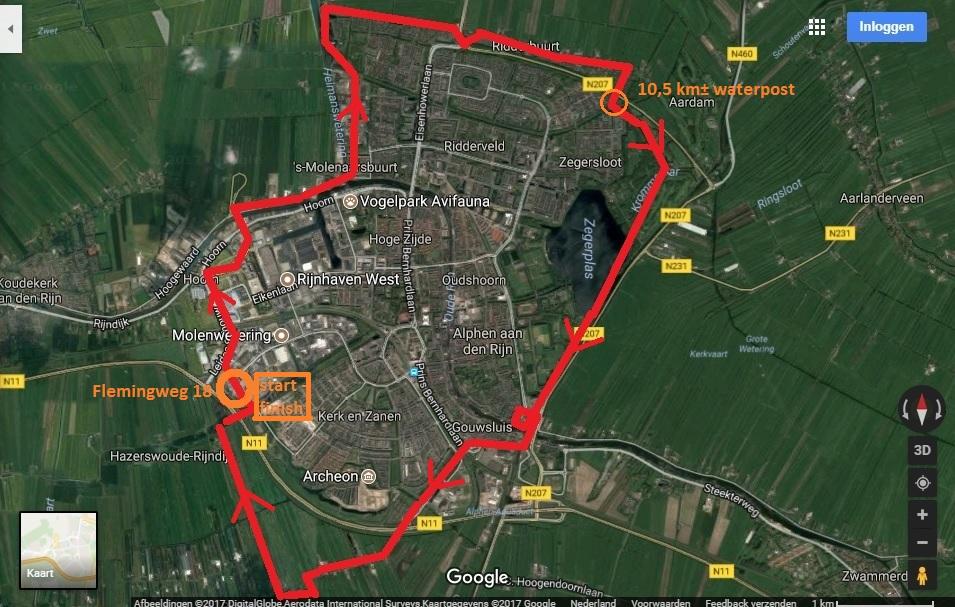Route 2017 met looprichting en waterpost